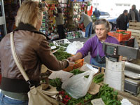 Irene op de markt in Turijn